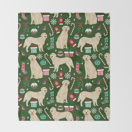 Golden Retriever festive christmas dog illustration pet portrait pet friendly gifts for dog breed Throw Blanket
