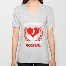 My Heart Beats For Floor Ball Unisex V-Neck