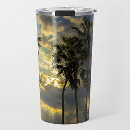 Sunbeams and Palm Trees by Cabrillo Beach Los Angeles California Travel Mug