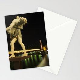 Lyon Bridge Statue by night Stationery Cards