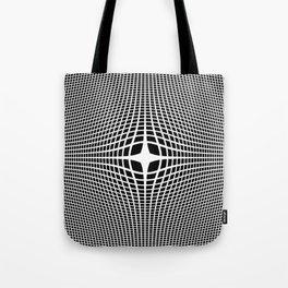 White On Black Convex Tote Bag