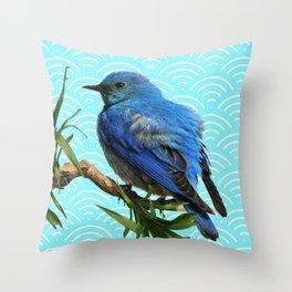 AQUA SPRING BLUE BIRD ART Throw Pillow