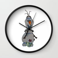 olaf Wall Clocks featuring Olaf  by Sierra Christy Art
