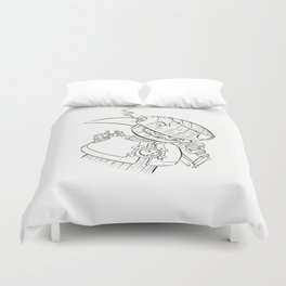 Robot Pirate - ink Duvet Cover