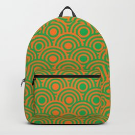 op art pattern retro circles in green and orange Backpack