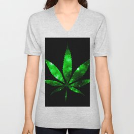Weed : High Times green Galaxy Unisex V-Neck
