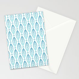 Contemporary Leaf and Circle Pattern Turquoise Blue Ombre Stationery Cards