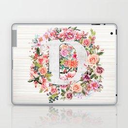 Initial Letter D Watercolor Flower Laptop & iPad Skin