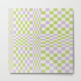 Happy Colorful Checkered Pattern Green and Lilac Metal Print