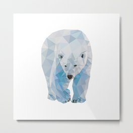 Geometric Polar Bear Metal Print