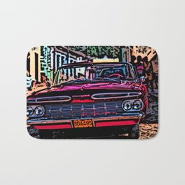 Old american car in Trinidad, Kuba Bath Mat
