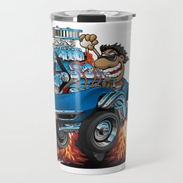 Classic '69 American Sports Car Cartoon Travel Mug