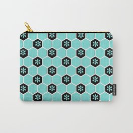 Blue Floral Honeycomb Carry-All Pouch