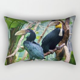 Pair Of Wreathed Hornbills Rectangular Pillow