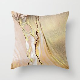Blush Gold Alcohol Ink Abstract 2 Throw Pillow