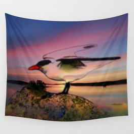 Sunset Take-off - Gull Painted with Sunset Colors Wall Tapestry