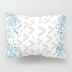 Gray arrows and blue flowers Pillow Sham