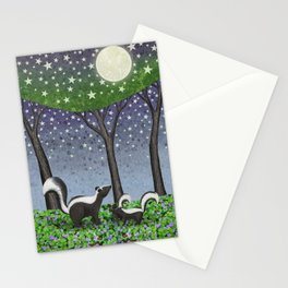starlit striped skunks Stationery Cards