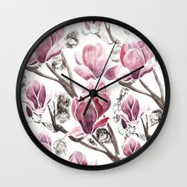 Pink Magnolia with some gold touch Wall Clock