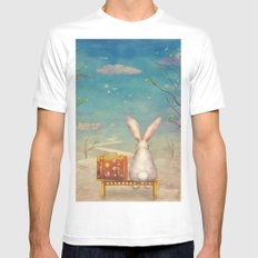 Sad rabbit  with suitcase sitting on the bench on the cloud in sky  Mens Fitted Tee White MEDIUM