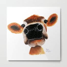 Nosey Cow ' JERSEY JOY ' by Shirley MacArthur Metal Print