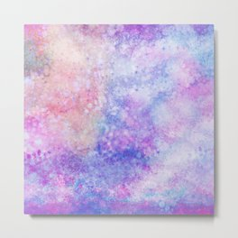 Abstract pink blue ultraviolet hand painted watercolor pattern Metal Print