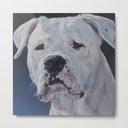 The Dogo Argentino dog art portrait from an original painting by L.A.Shepard Metal Print