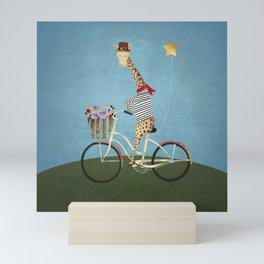 giraffe bicycle Mini Art Print