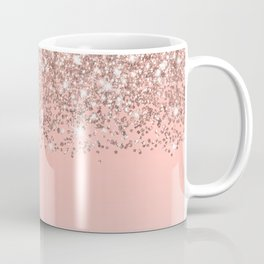 Girly Rose Gold Confetti Pink Gradient Ombre Coffee Mug