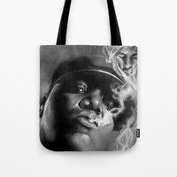 tupac Tote Bags featuring It Was All A Dream... by Claras Blackbook