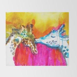 Giraffe Kiss Throw Blanket