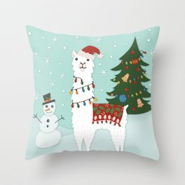 Santa Llama with Christmas Tree Throw Pillow