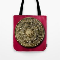 gladiator Tote Bags featuring Roman Gladiator Shield - Trick or Treat bag by Joel M Young