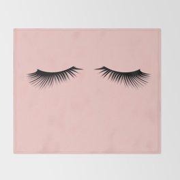 pink eyelashes Throw Blanket