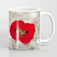 israel Mugs featuring Vibrant Red Poppy, Israel by Kim Lucian Photography
