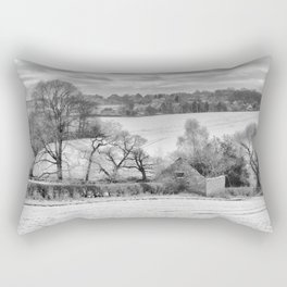 Winter barn - mono Rectangular Pillow