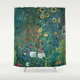 """Gustav Klimt """"Farm Garden with Sunflowers"""" Shower Curtain"""