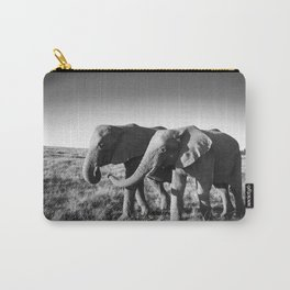 Elephant friends walk together along African savanna Carry-All Pouch