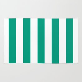 Paolo Veronese green - solid color - white vertical lines pattern Rug
