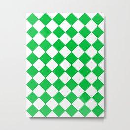 Large Diamonds - White and Dark Pastel Green Metal Print