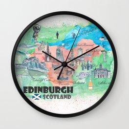 Edinburgh Scotland Illustrated Travel Poster Favorite Map Wall Clock