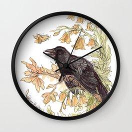 Autumnal Equinox Crow Bellflowers Wall Clock