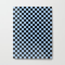 Black and Baby Blue Checkerboard Metal Print