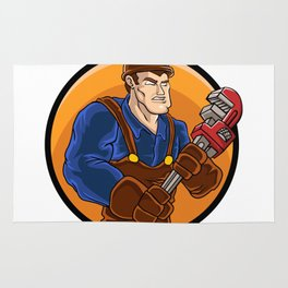 strong plumber holding wrench Rug