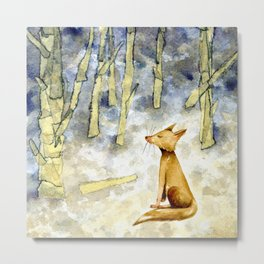 Meditating fox Metal Print