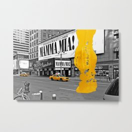 NYC Yellow Cabs - Musical I - Brush Stroke Metal Print