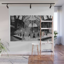 iconic runway industrial black and white Wall Mural