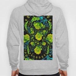 YELLOW ROSE & BLUE RIBBONS ON BLACK ART Hoody