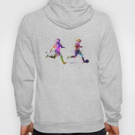 Girls playing soccer football player silhouette Hoody