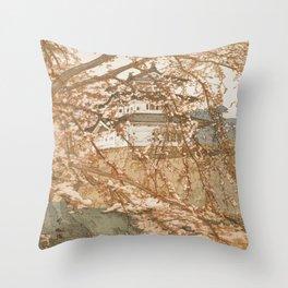 Hirosaki Castle Showa Period Hiroshi Yoshida Modern Japanese Woodblock Print Throw Pillow